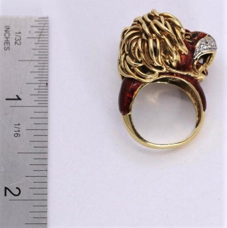 Frascarolo Enameled Lion Ring with Golden Mane 5