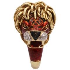 Frascarolo Enameled Lion Ring with Golden Mane