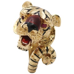 Frascarolo Gold and Enamel Tiger Ring with Ruby Eyes