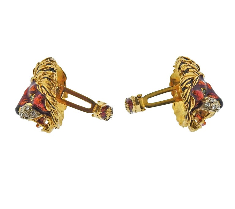 Pair of 18k gold large cufflinks by Frascarolo, with enamel and approx. 0.60ctw in H/VS diamonds, depicting lion heads.  Cufflink top is 25mm x 22mm. Marked: modele depose, FC mark. Weight - 38.6 grams.