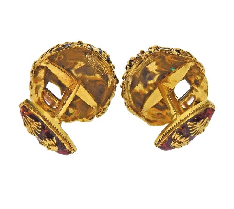 Round Cut Frascarolo Gold Diamond Enamel Emerald Lion Cufflinks For Sale