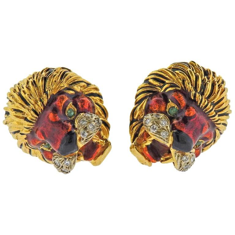 Frascarolo Gold Diamond Enamel Emerald Lion Cufflinks For Sale