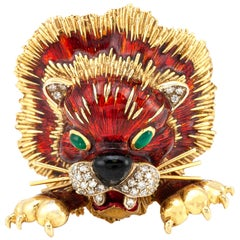 Frascarolo Lion Brooch Gold with Diamonds and Enamel