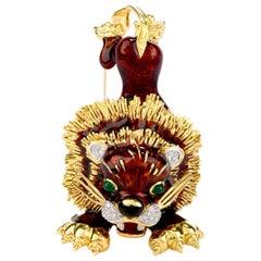 Frascarolo Vintage Diamond Green Onyx 18 Karat Gold Lion Brooch Pin