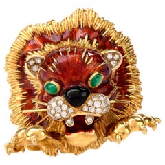 Frascarolo Vintage Enameled Diamond Lion Head Brooch Pin