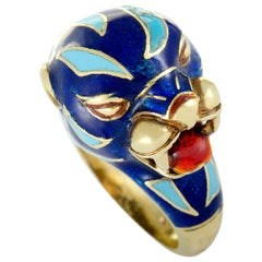 Frascarolo Yellow Gold and Blue Enamel Animal Motif Ring