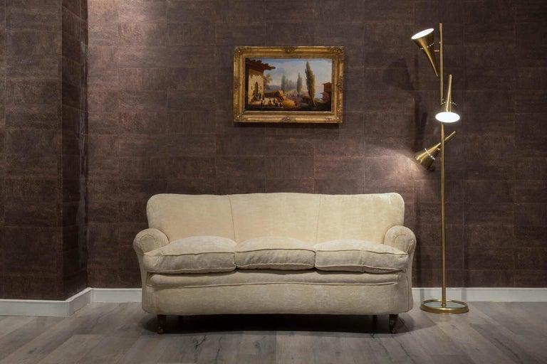 Fratelli Barni Brianza Mid-20 Century Italian White Curves Three-Seat Sofa For Sale 1