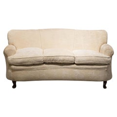 Fratelli Barni Brianza Mid-20 Century Italian White Curves Three-Seat Sofa