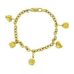 Fratelli Chini Italian Vintage 18 Karat Yellow Gold Charm Bracelet