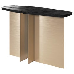 Fratelli Contemporary Console Small in Wood and Brass by Artefatto Design Studio