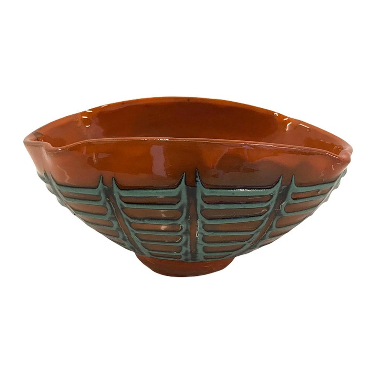 Fratelli Fanciullacci for Melrose Oval Shaped Bowl Italian Modern Bitossi, 1960s For Sale