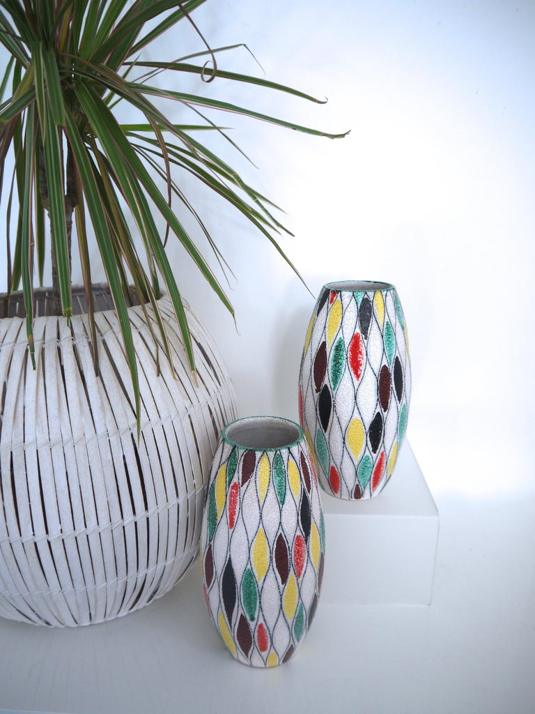 Italian Fratelli Fanciullacci Modernist Matching Vases 1965, Signed  For Sale