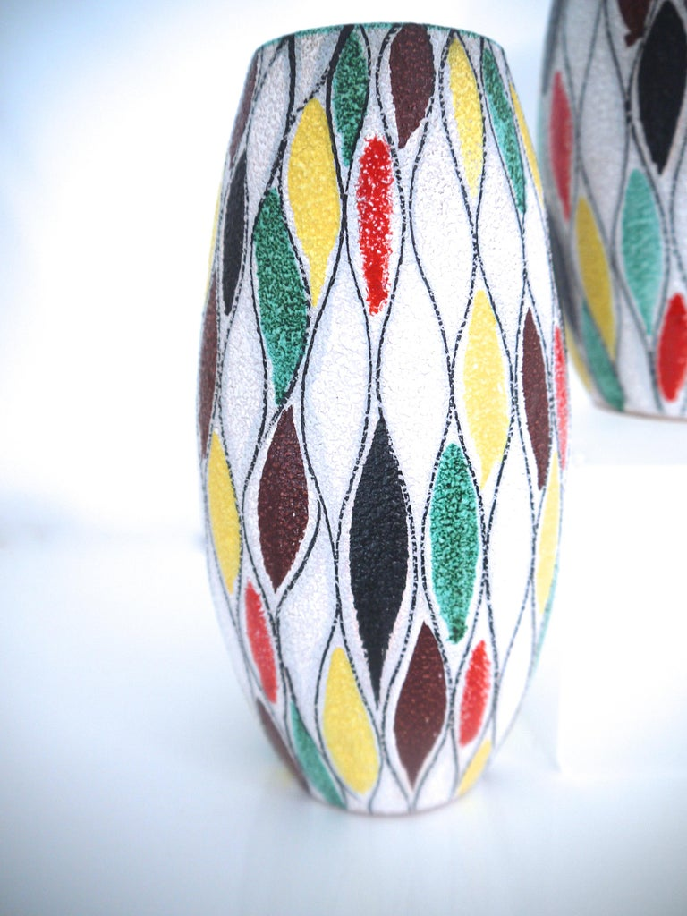 Fratelli Fanciullacci Modernist Matching Vases 1965, Signed  In Good Condition For Sale In Halstead, GB