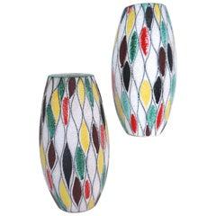Fratelli Fanciullacci Modernist Matching Vases 1965, Signed