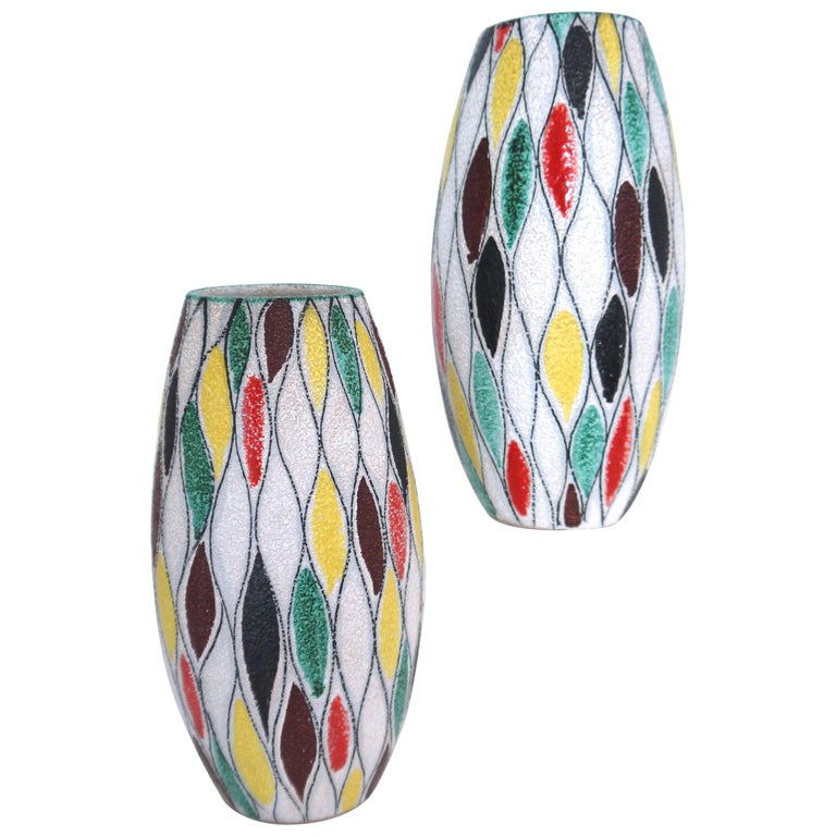 Fratelli Fanciullacci Modernist Matching Vases 1965, Signed  For Sale