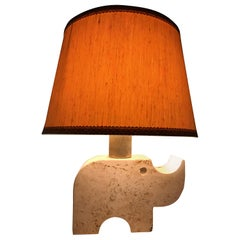 Fratelli Mannelli Midcentury Travertine Marble Rhino Italian Table Lamp, 1970s