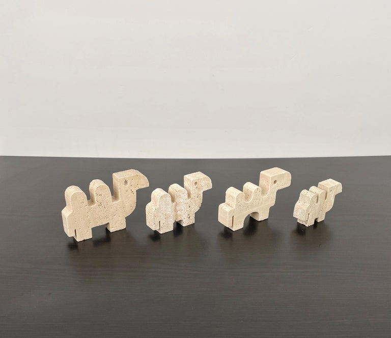 Fratelli Mannelli Set of Four Camel Sculpture in Travertine, Italy, 1970s 4