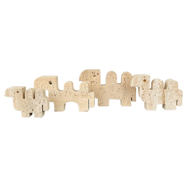 Fratelli Mannelli Set of Four Camel Sculpture in Travertine, Italy, 1970s