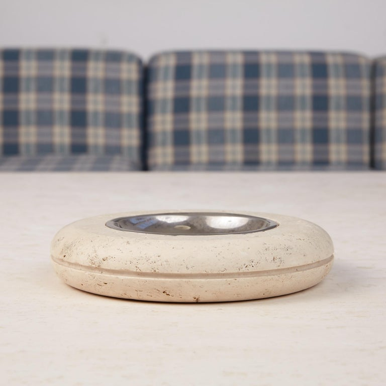 Italian Fratelli Mannelli Travertine Ashtray with Metal Dish For Sale