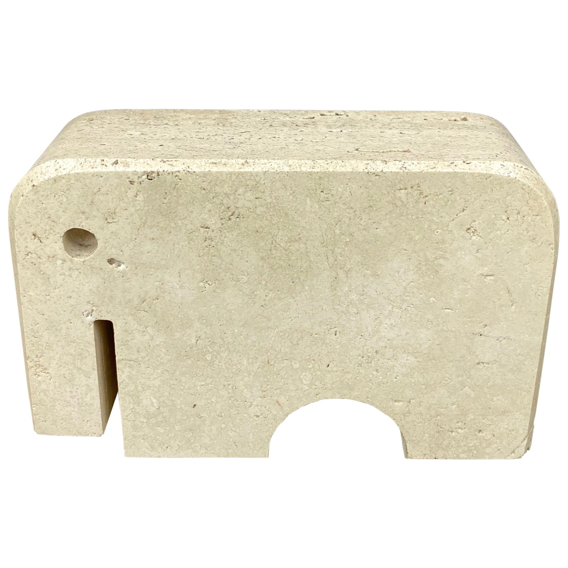 Fratelli Mannelli Travertine Elephant Animal Sculpture, Italy, 1970s