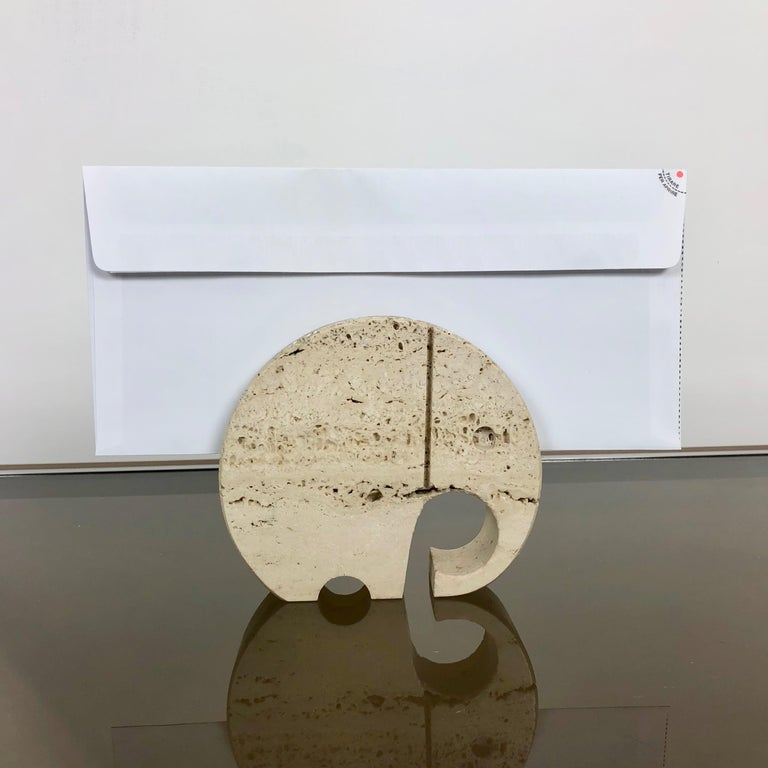 Italian Fratelli Mannelli Travertine Elephant Letter Holder Sculpture Minimalist Italy  For Sale