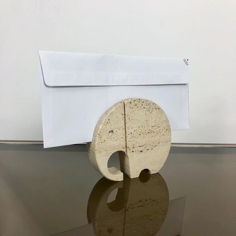Late 20th Century Fratelli Mannelli Travertine Elephant Letter Holder Sculpture Minimalist Italy  For Sale