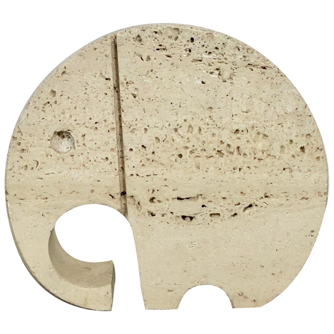 Fratelli Mannelli Travertine Elephant Letter Holder Sculpture Minimalist Italy