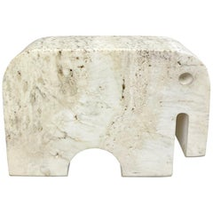 Fratelli Mannelli Travertine Elephant Sculpture Paperweights, Italy, 1970s