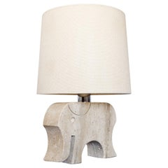 Fratelli Mannelli Travertine Elephant Table Lamp, Italy, 1970s