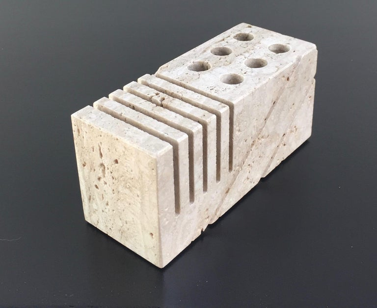 Travertine letter holder also holds pens and pencils and is a beautifully grained travertine with a very natural form.