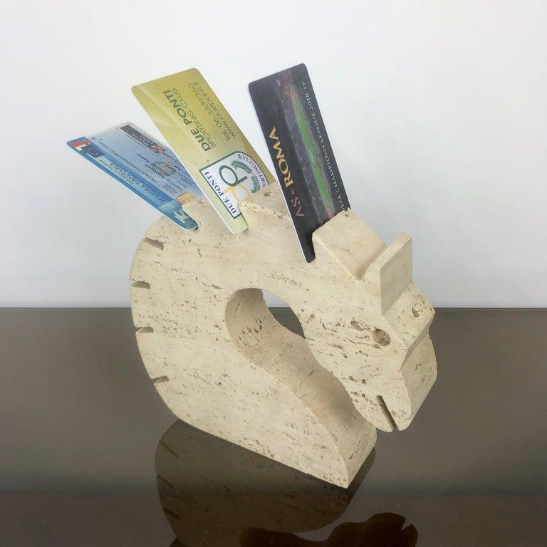 Mid-Century Modern Fratelli Mannelli Travertine Letter Holder Horse Sculpture Italy, 1970s For Sale