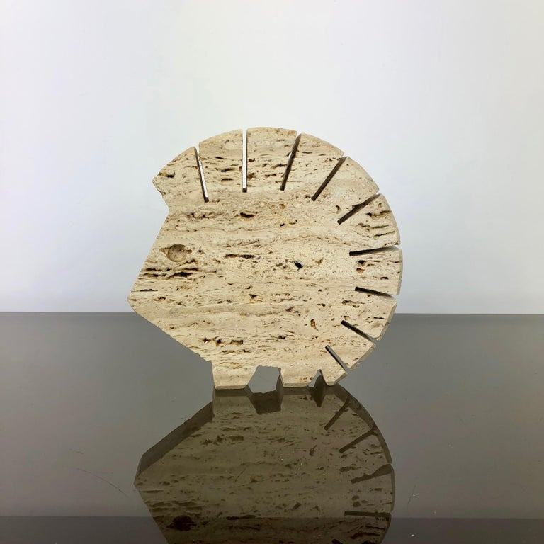 Italian Fratelli Mannelli Travertine Letter Holder Porcupine Sculpture Italy, 1970s For Sale