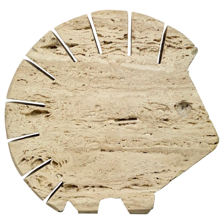 Fratelli Mannelli Travertine Letter Holder Porcupine Sculpture Italy, 1970s For Sale