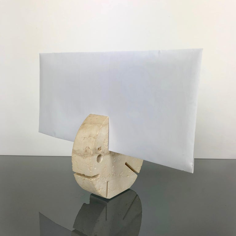 Italian Fratelli Mannelli Travertine Letter Holder Puffer Fish Sculpture Italy, 1970s For Sale