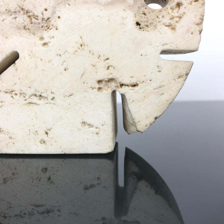 Fratelli Mannelli Travertine Letter Holder Puffer Fish Sculpture Italy, 1970s In Good Condition For Sale In Rome, IT