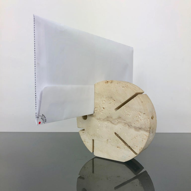 Fratelli Mannelli Travertine Letter Holder Puffer Fish Sculpture Italy, 1970s For Sale 1