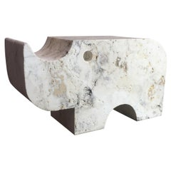 Fratelli Mannelli Travertine Rhinoceros Brutalist Sculpture or Bookend
