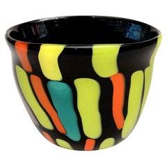 Fratelli Pagnin Orange, Black, Chartreuse Murano Glass Vase Signed Italian