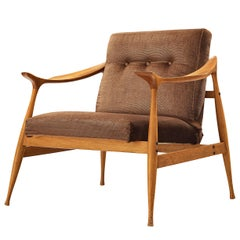 Fratelli Reguitti 'Lord' Lounge Chair in Walnut and Brown Velvet Upholstery