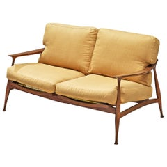 Fratelli Reguitti Sofa Model 'Lord' in Walnut and Yellow Fabric Upholstery