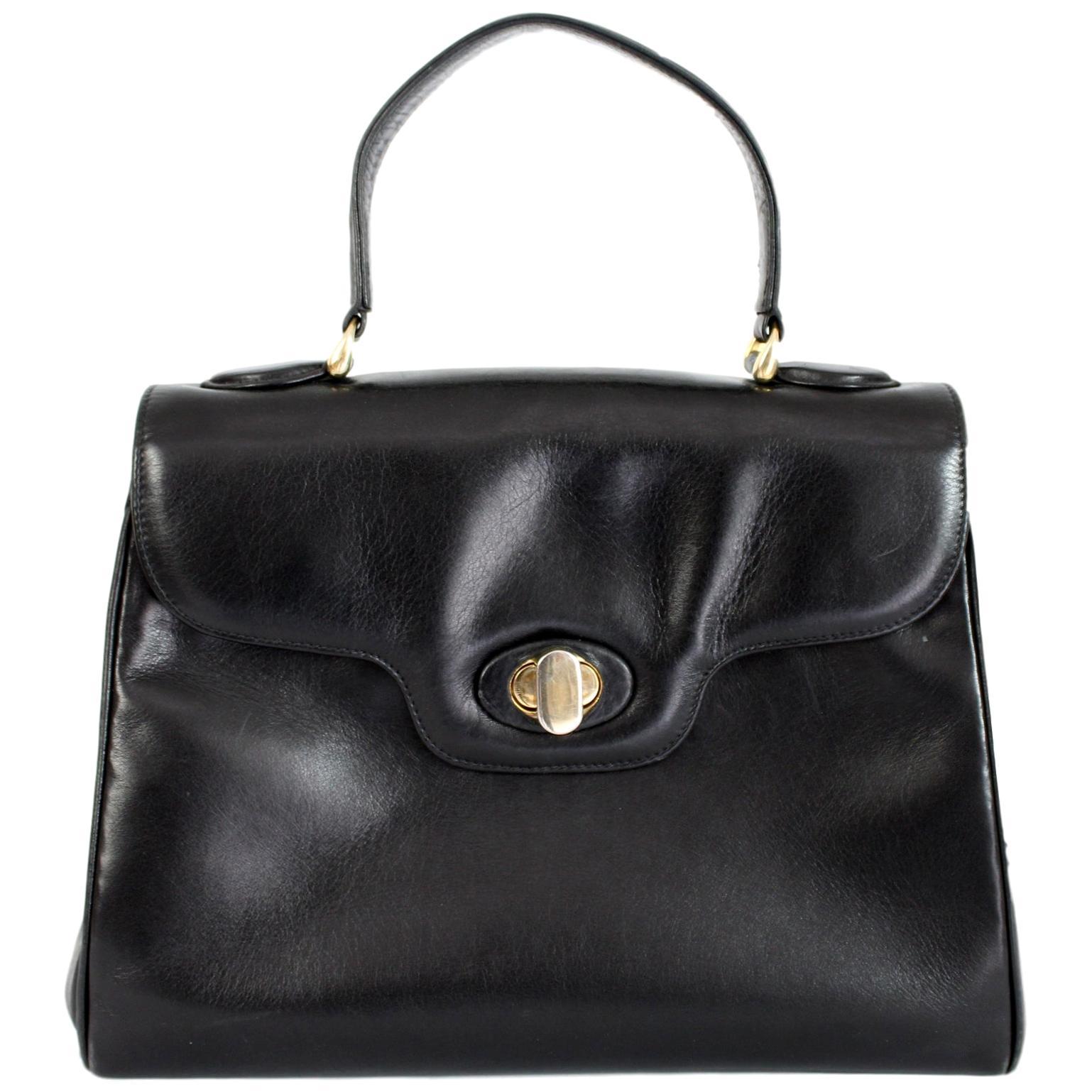 Fratelli Rossetti Black Leather Rigid Doctor Handbag 1980s