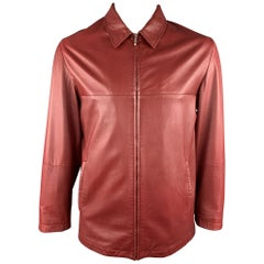 FRATELLI ROSSETTI L Red Leather Full Zip Jacket