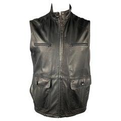FRATELLI ROSSETTI Size XXL Black Leather Zip Up Vest