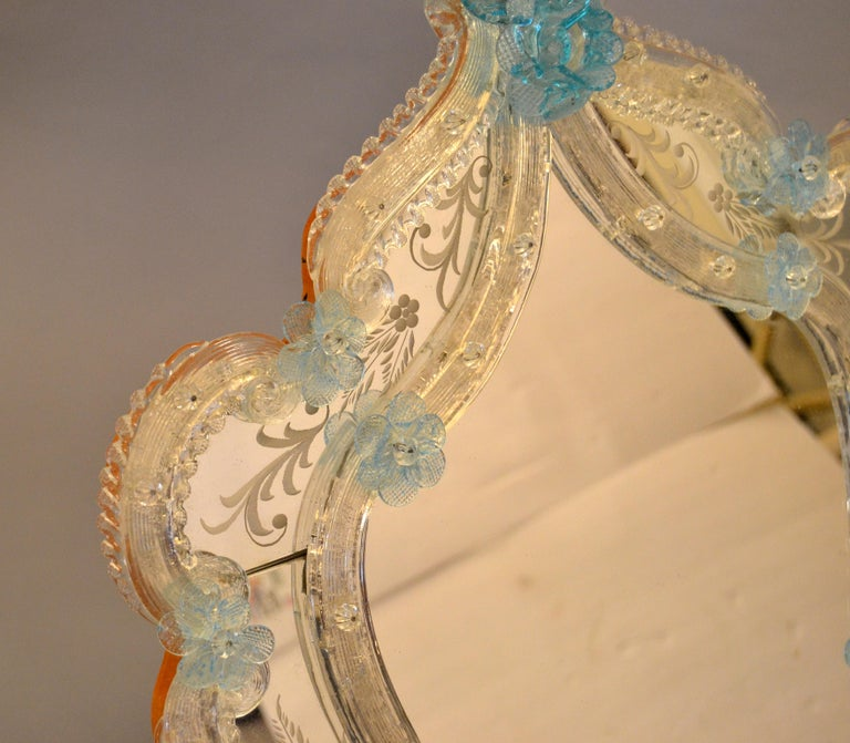 Fratelli Tosi Venetian Glass Vanity, Table Mirror with Blue Flowers, Italy In Good Condition For Sale In Miami, FL