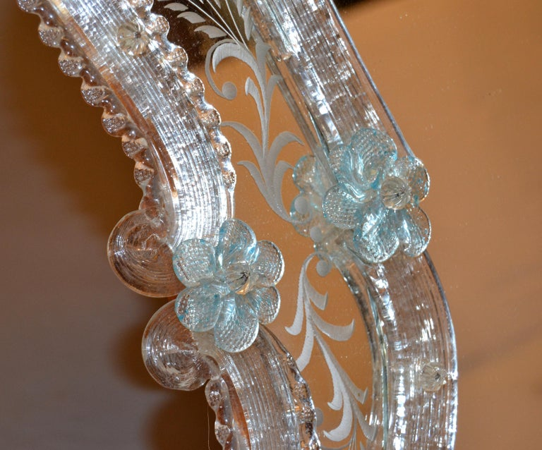 20th Century Fratelli Tosi Venetian Glass Vanity, Table Mirror with Blue Flowers, Italy For Sale