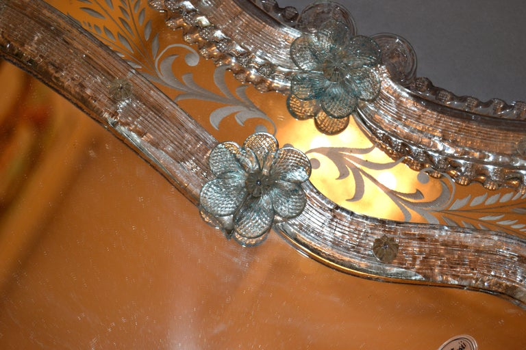 Art Glass Fratelli Tosi Venetian Glass Vanity, Table Mirror with Blue Flowers, Italy For Sale