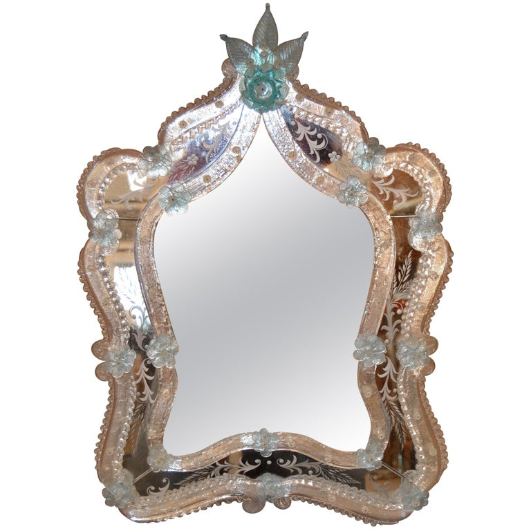 Fratelli Tosi Venetian Glass Vanity, Table Mirror with Blue Flowers, Italy For Sale