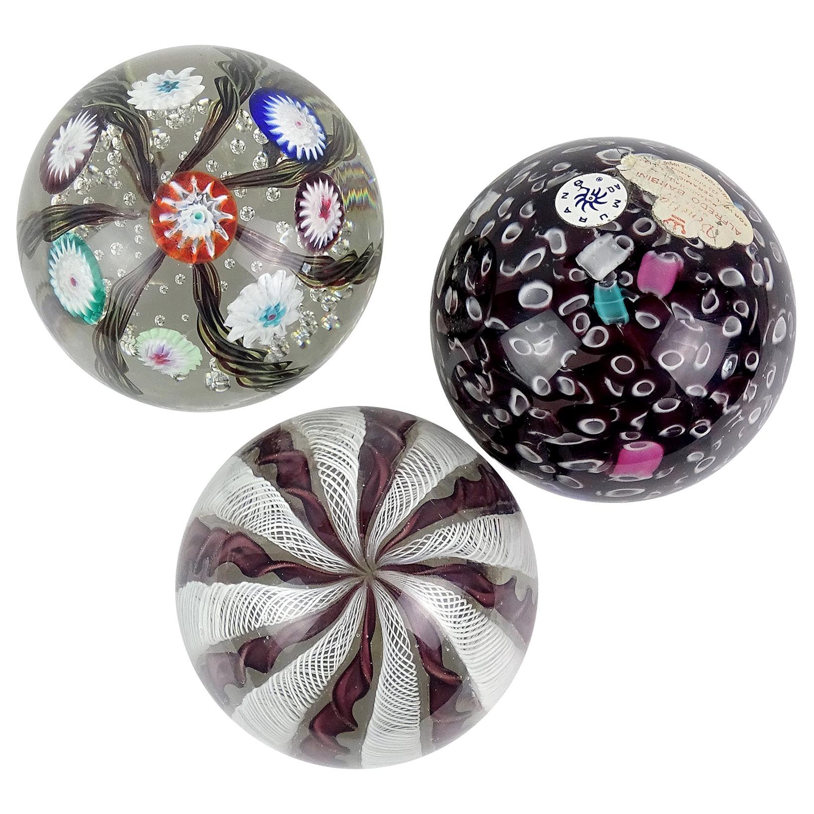 Murano Fratelli Toso and Barbini Murrine Ribbons Italian Art Glass Paperweights
