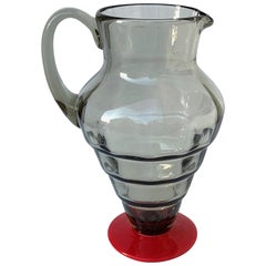 Fratelli Toso for Venini, Carafe in Smoked Glass and Red Glass Paste, Italy 1930