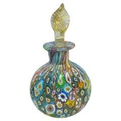 Fratelli Toso Italian Venetian Murano Millefiori Perfume Bottle, Italy, 1950s